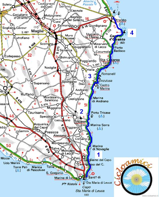 Mappa Puglia Otranto.Itinerari Cicloturistici In Salento