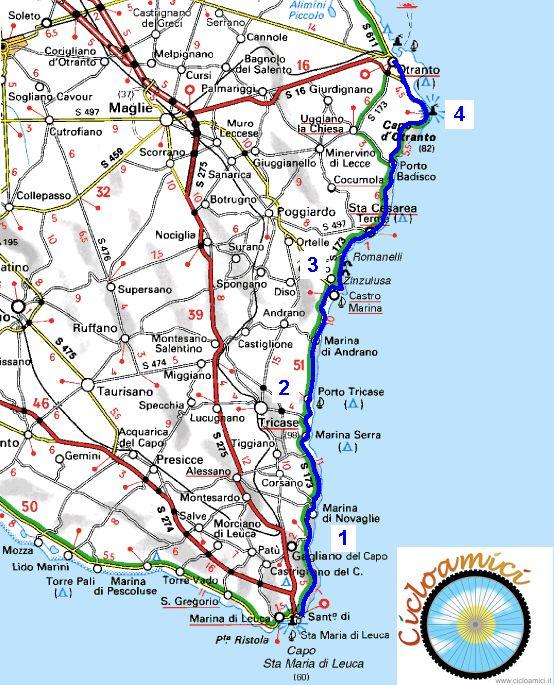 Cartina Puglia San Foca.Itinerari Cicloturistici In Salento